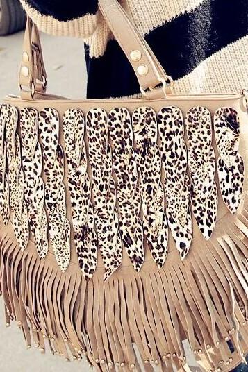 Leopard Shoulder Bag Tassel Bag Handbags DG61420