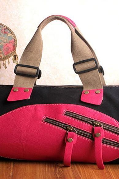 Women And Men Unisex Canvas Bag Black Handbag Hobo Bag