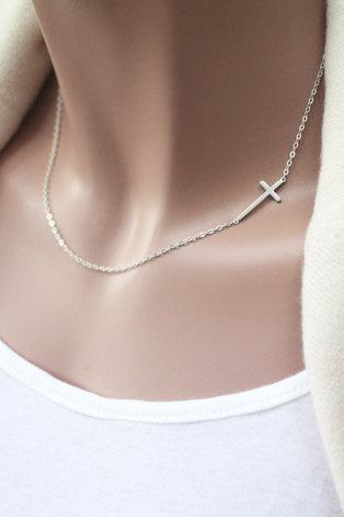 Silver cross, Sterling Silver Sideways cross Necklace, off centered- Sideways cross necklace, simple necklace, Christmas Gift