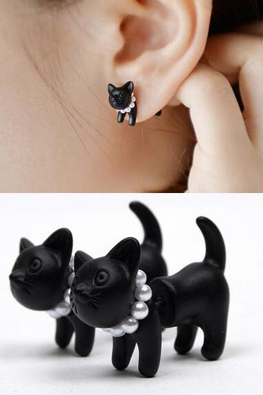 Polymer Clay Black Cat Earring