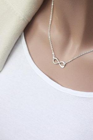 Sterling Silver Infinity necklace, Bridesmaid gift, wedding, Mother jewelry, Infinite, Friendship necklace, love