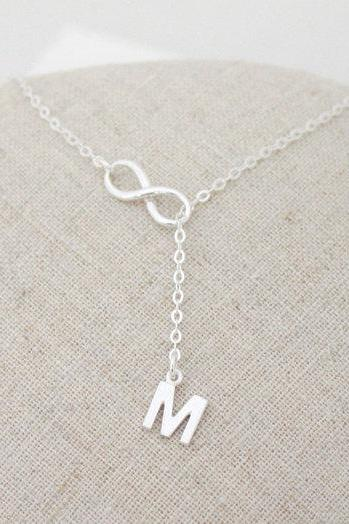 Silver Infinity Lariat Necklace,sterling silver,Personalized initial necklace,Christmas gift,Bridesmaid gift,wedding,Friendship, best friend