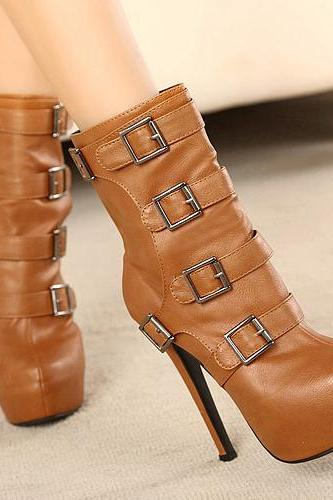 Cheap Winter Round Toe Zipper Buckles Design Platform Stiletto High Heel Brown PU Ankle Martens Boots