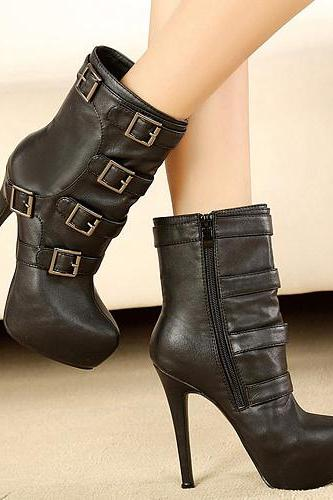 Cheap Winter Round Toe Zipper Buckles Design Platform Stiletto High Heel Black PU Ankle Martens Boots