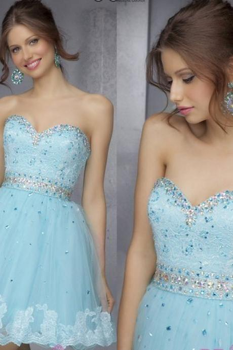Elegant Strapless Sweetheart Mini Party A Line Orange Tulle Beaded Appliqued Cocktail Gowns 2014 Short Prom Dresses