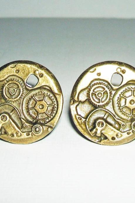 Antiqued Bronze STEAMPUNK GEARS Cuff Links Unisex Men CUFFLINKS Mechanical Gears