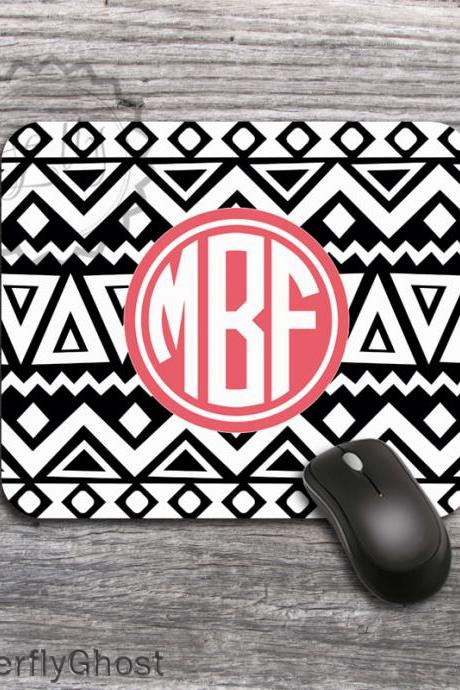 Black and White Aztec Pattern Mousepad - Tribal Computer Mousepad, office boss gift