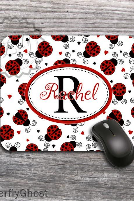 Customized Lady Bugs Computer mousepad - Name or Monogram office desk accessory