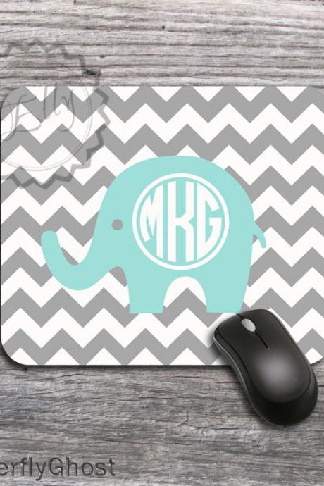 Elephant Computer Mousepad - Gray chevron padding, personalized office gift accessory
