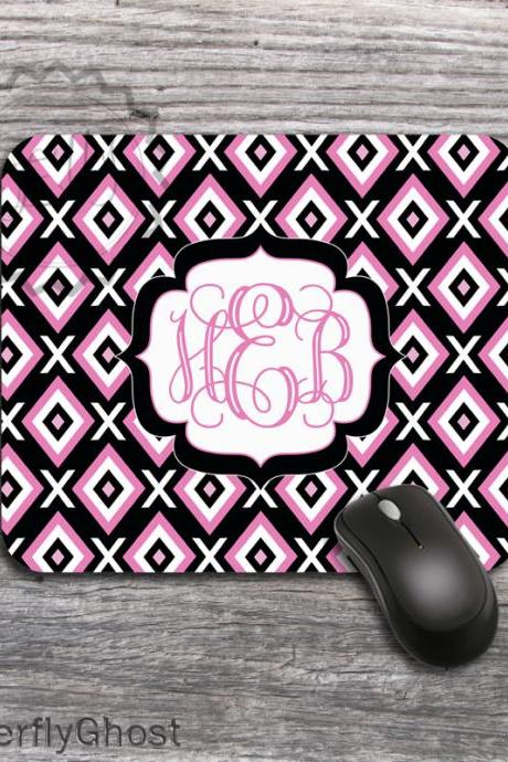 Pink Diamonds Computer mousepad - White labeled name or monogrammed office desk accessory