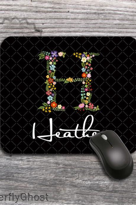 Classic Black Mousepad - Flowered letter design office desk accessory padding