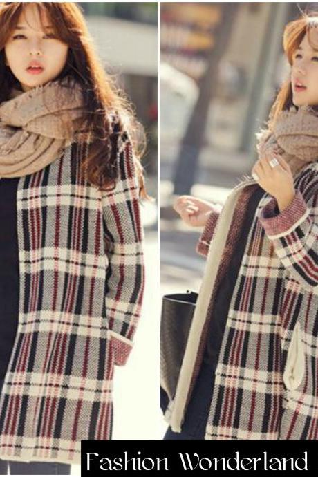 Loose Plaid Cardigan Sweater