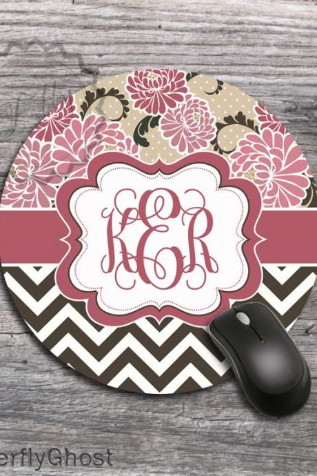 Coral Peonies Design Computer mousepad, office desk accessory gift, monogrammed mat