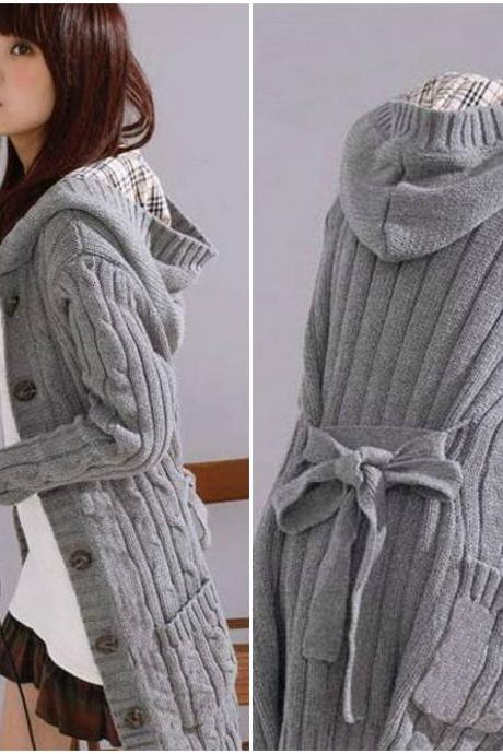 Cute Hooded Grey Sweater Coat with Pockets