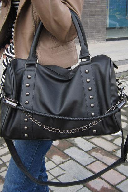 Punk Style Rivet Twisted Black Handbag& Messenger Bag