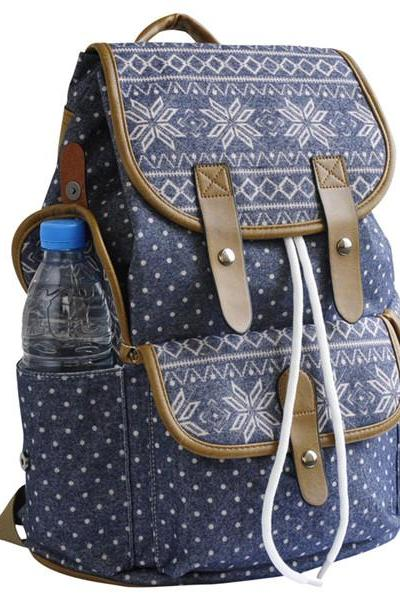 Rhombus And Dots Printed Backpack 0627024