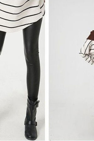New winter XL Plus velvet thickened Leather Leggings
