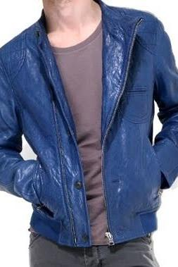 HANDMADE MENS BLUE LEATHER JACKET, MEN BLUE BIKER LEATHER JACKET, BIKER LEATHER JACKETS