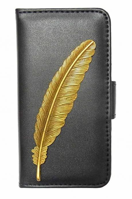Feather iPhone 6 Wallet case,iphone 6 leather case,iphone 6 Flip Case, Feather iPhone 6 PLUS leather wallet case cover Black