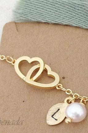 Double Heart Bracelet in Gold with Initial Charm and Pearl , everyday jewelry, delicate minimal jewelry