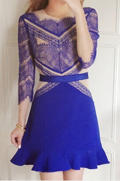 Blue Stitching Lace Dress