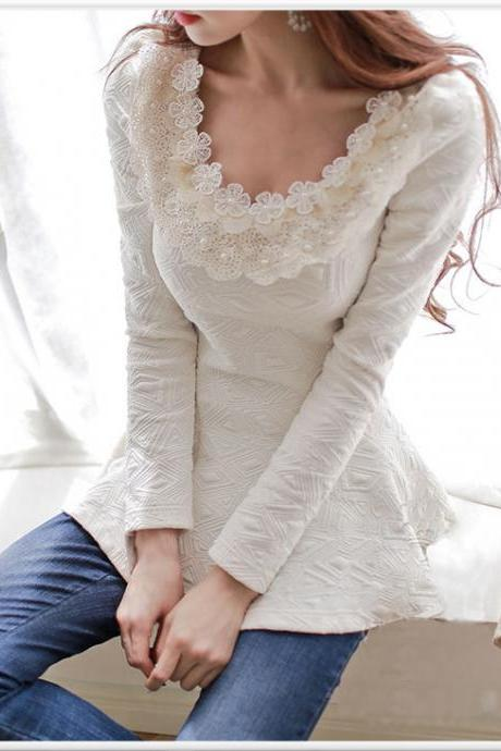 Classy Beige Beaded Long Sleeve Blouse