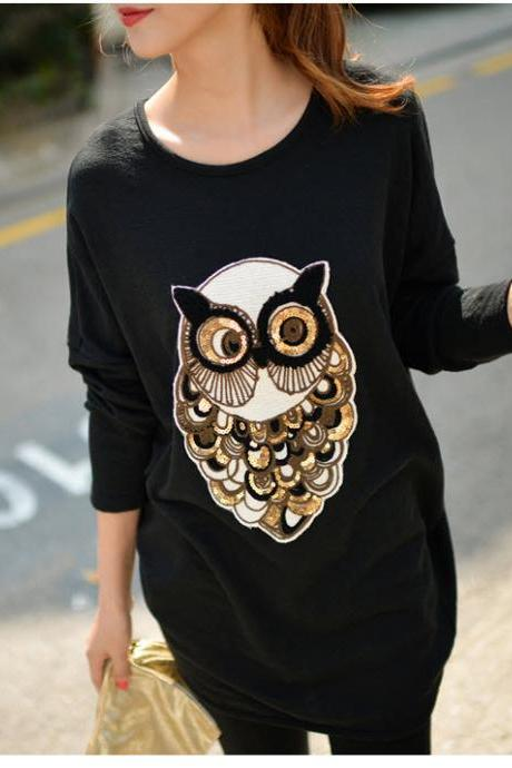 Cute Owl Design Black Long Sleeve Top