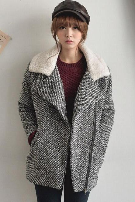 Retro Style Warm Grey Winter Coat