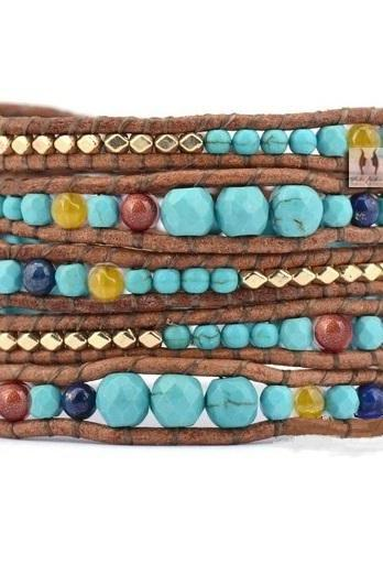 Graduated Turquoise with Gold Plated Nuggets 5X Wrap Bracelet - Artisan Boho Handmade - Chan Luu Inspired