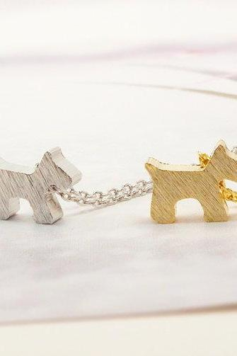 Satin Brushed Puppy Necklace, Dog Jewelry