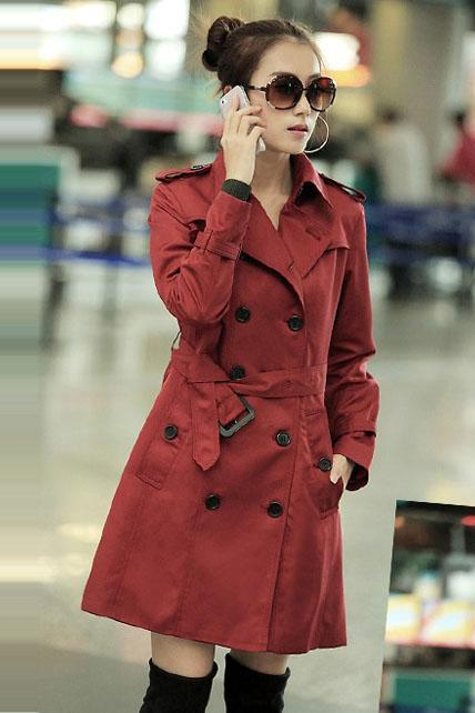 Work Style Double Breasted Trench Coat With Belt - Wine Red