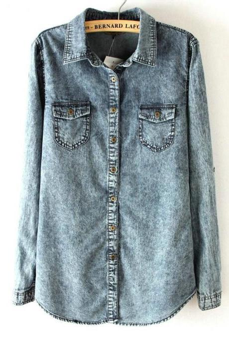 Dark Long-Sleeved Washed Denim Shirt