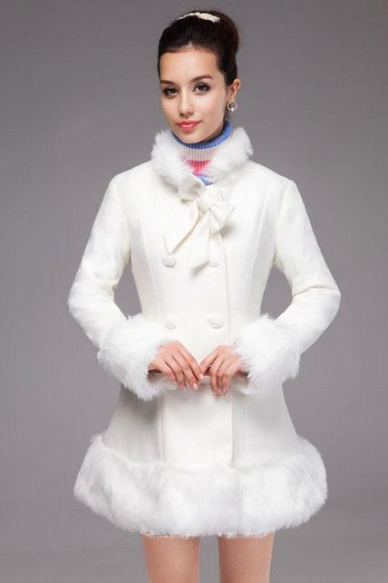 Princess Style White Bow Knot Fashion Coat