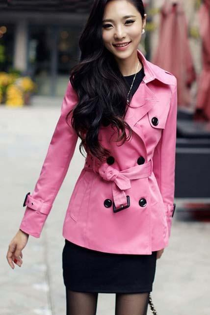 Women Essential Trench Coat With Belt For Autumn Spring - Rose