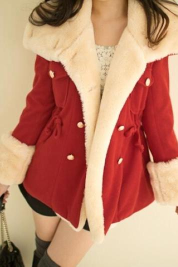 Cute Deep Red Warm Winter Coat