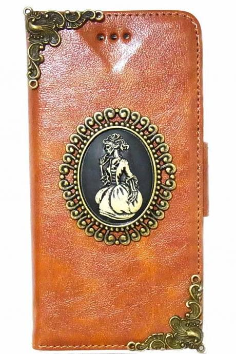 Skull Lady iPhone 6 Wallet case,iphone 6 leather case,iphone 6 Flip Case,Victorian Skull Lady iPhone 6 PLUS leather wallet case cover Brown