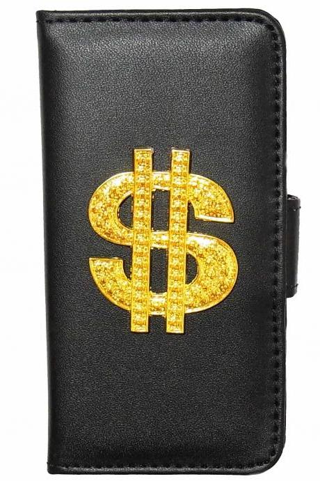 Gold Dollar Sign Samsung Galaxy S4 Wallet case,Vintage Samsung Galaxy S5 leather Wallet Case,Samsung Galaxy Note 2 leather wallet case,Victorian Dollar Sign Samsung N9000 Galaxy Note 3 Leather wallet case cover Black