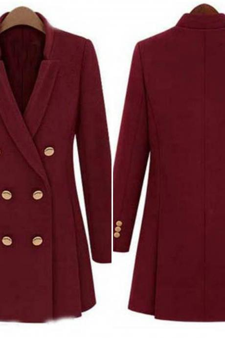 Classy Wine Red Double Breasted Winter Coat