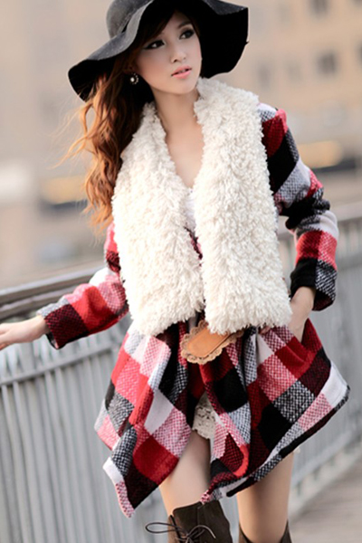 Cheap New Style Turndown Collar Long Sleeves Single-breasted Fur Patchwork Plaids Print Long Wool Coat