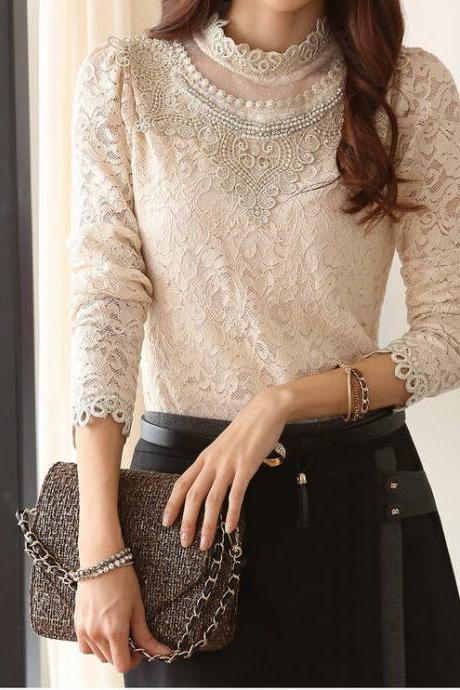 Elegant Blouse Add Wool Floral Pattern Long Sleeve Top Apricot Stand Collar Blouse