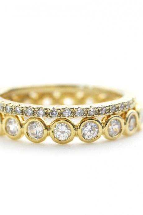 Stacking Cubic Zirconia band ring 2 Set in Gold
