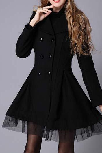 Classy Black Double Breasted Winter Coat