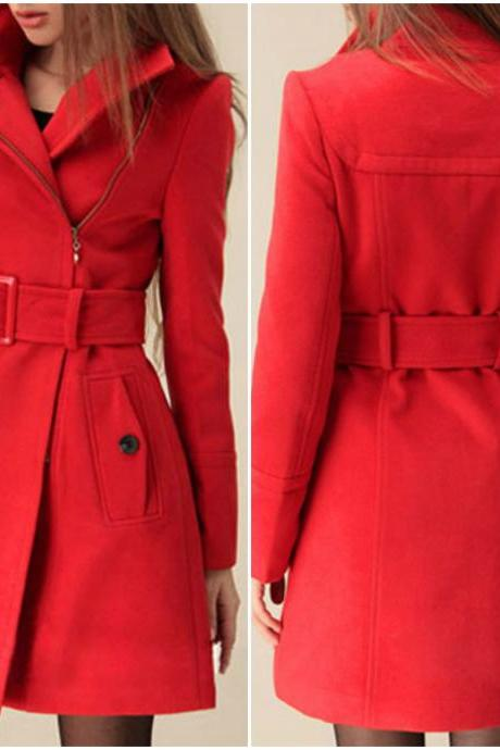 Sexy Red Winter Coat with Belt