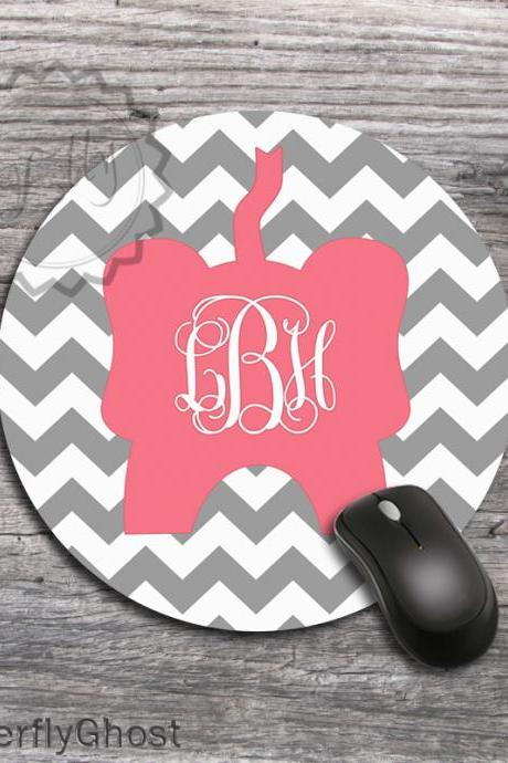 Gray chevron Round Mousepad - Cut Coral Monogrammed Elephant padding, customized computer mat, office desk accessory