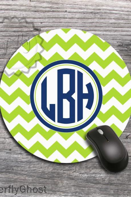 Lime Green Computer Mousepad - Personalized Monogrammed office desk accessory