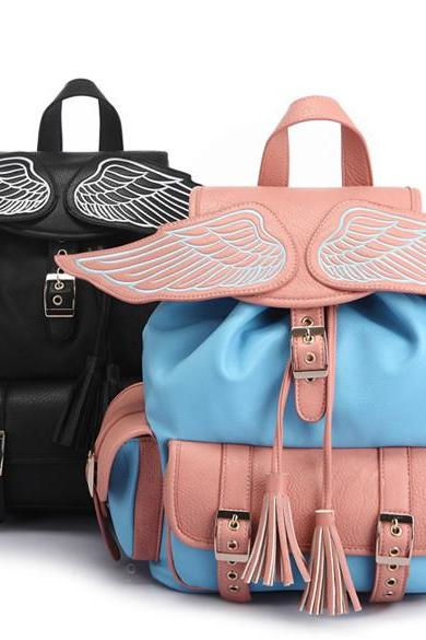 New Arrival Angel's Wing PU Leather Backpack