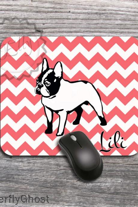 Frenchy design Computer Mousepad - Dog customized computer overlay, personalized monogramed funny gift