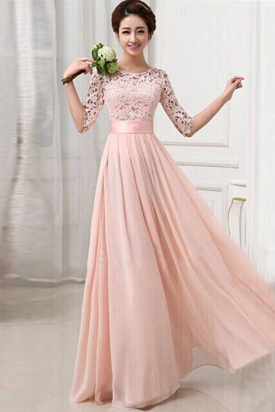 Fashion O neck Half Sleeve Waist Pink Ankle Length Dress