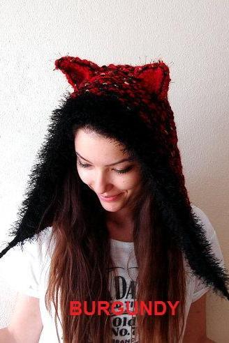 Hand Knitted Animal Ear Hoodie (Cat, Fox, Wolf)