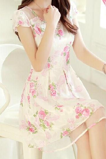 Chiffon Organza Flower Dress